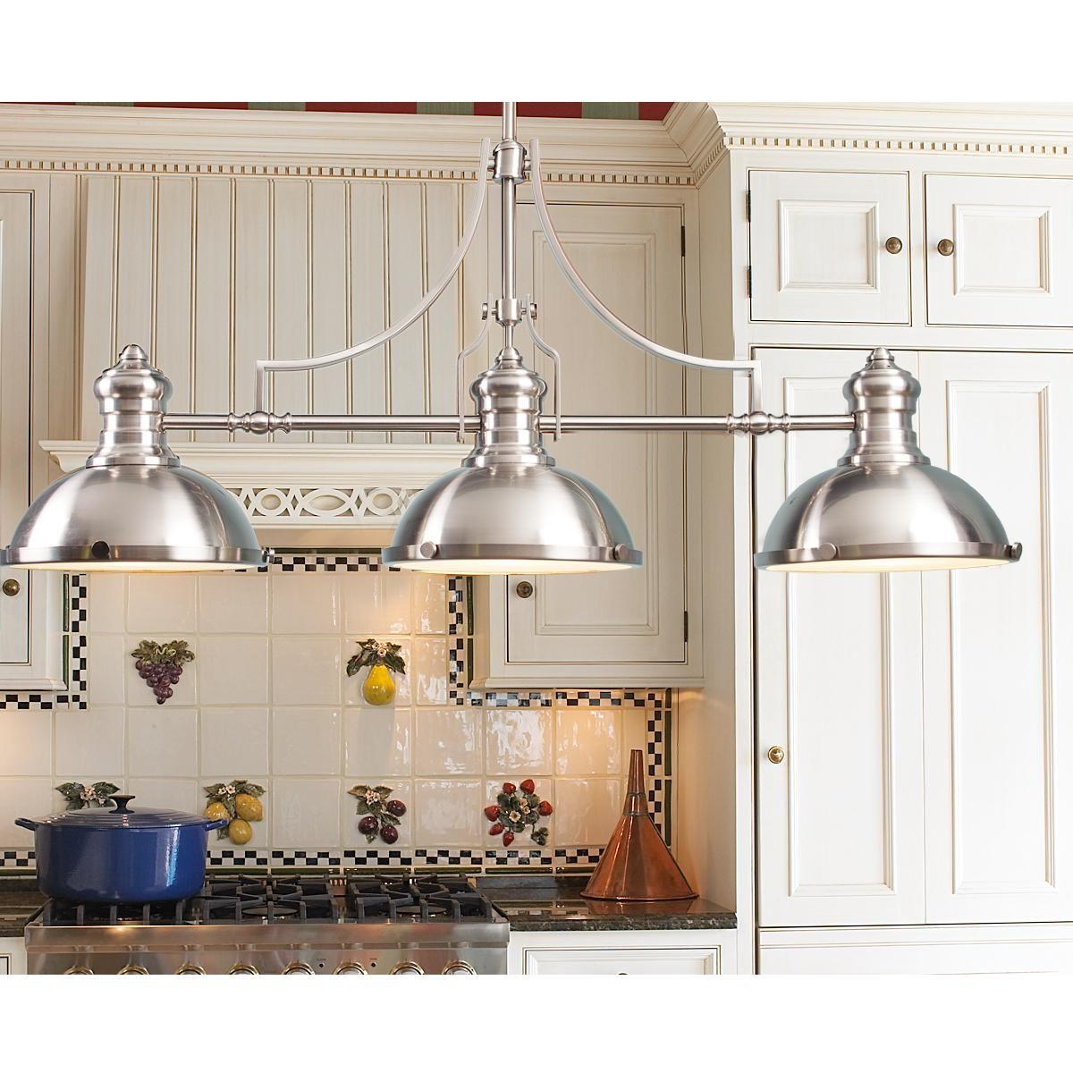 Craftsman Period Island Chandelier 3 Light Kitchen