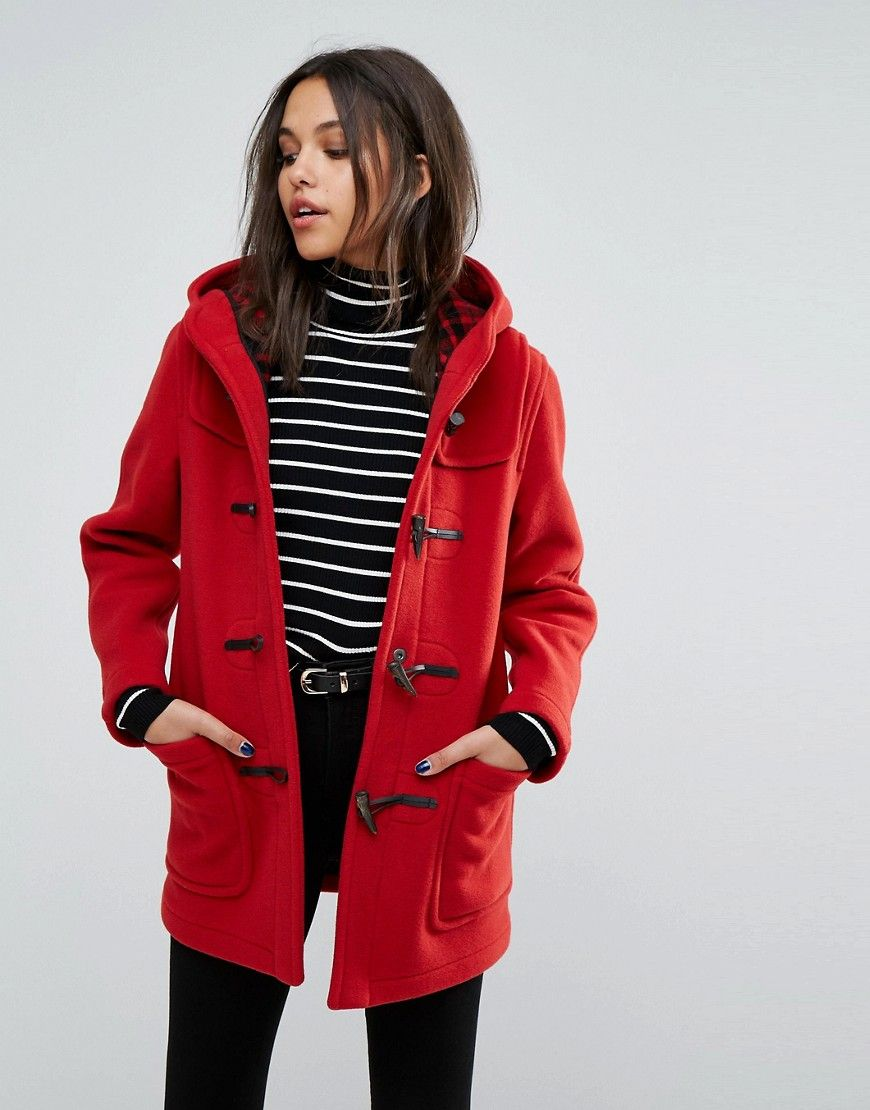 Gloverall Classic Mid Length Duffle Coat Red | Female