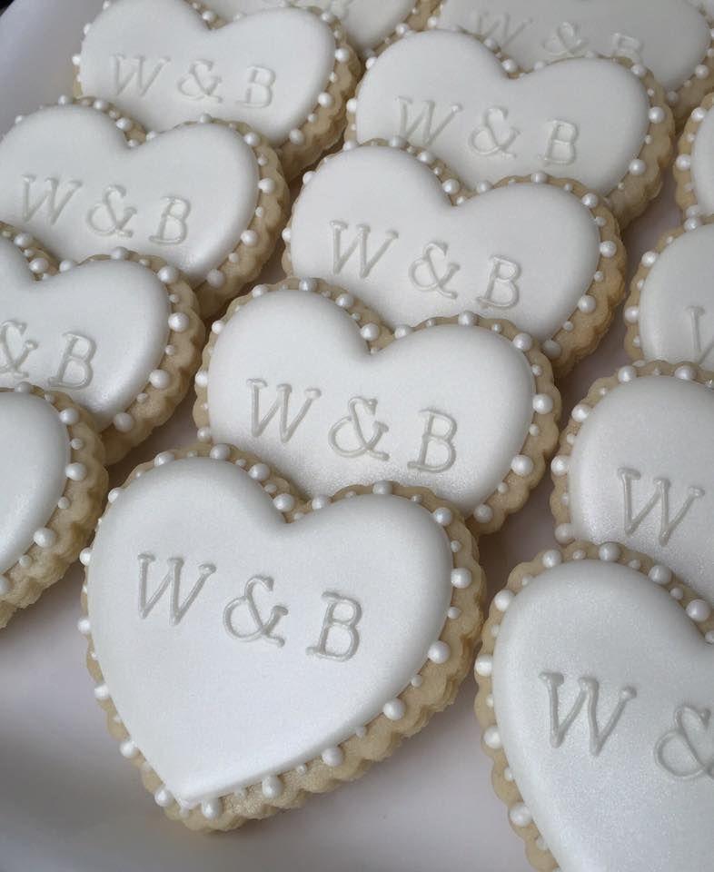 Wedding engagement heart initial cookies   Laura's Custom ...