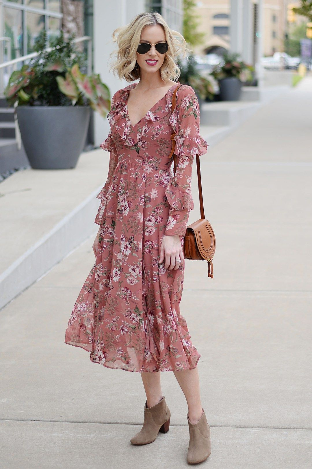 The Dress Of The Season It S Love Straight A Style Midi Dress Outfit Fall Floral Midi Dress Outfit Fall Dress Outfit