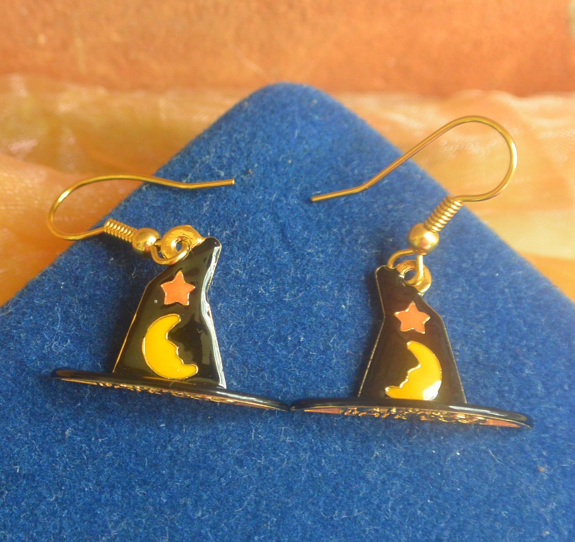 Lunch at the Ritz Earrings Witch Hats, Signed, Pierced
