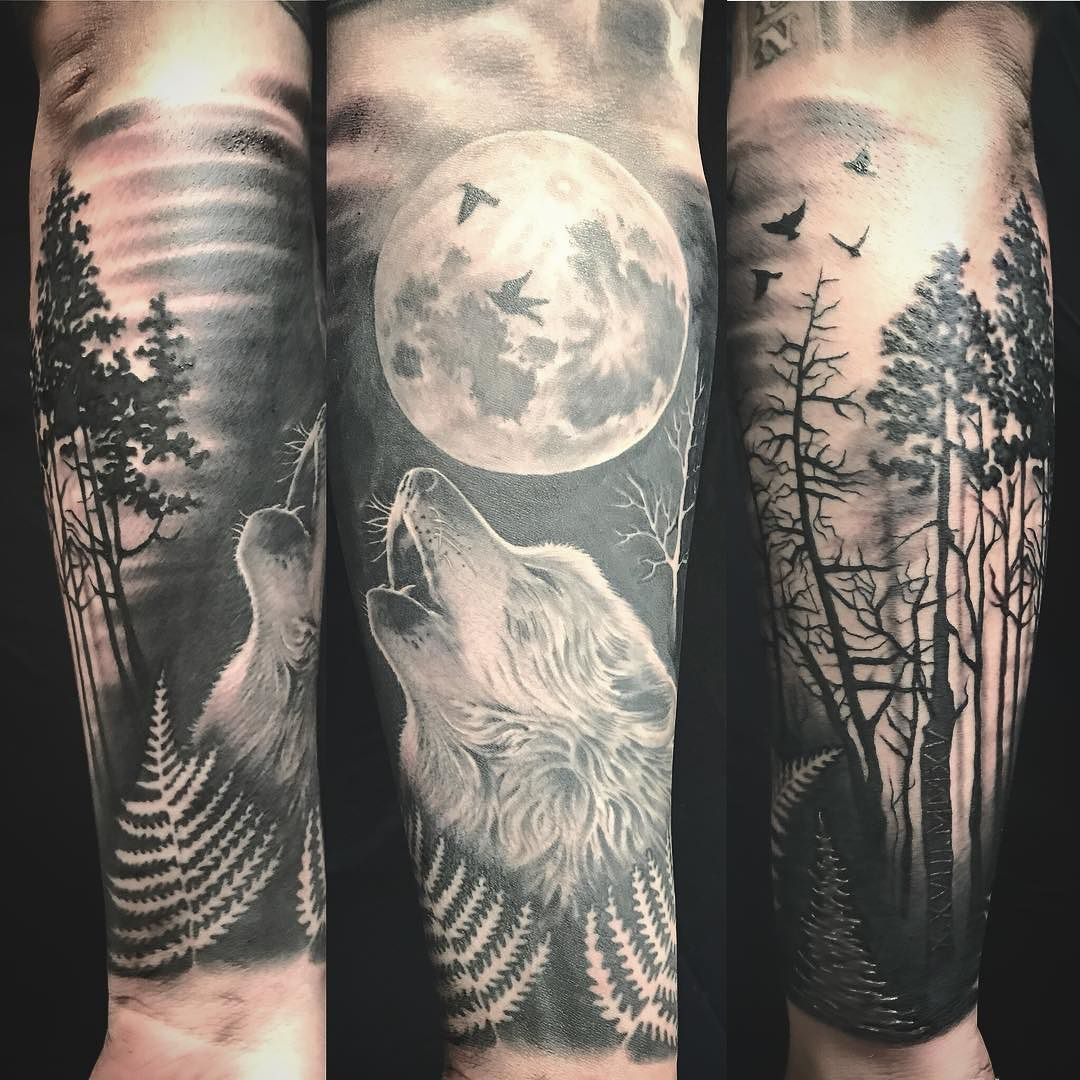Wolf In The Forest Half Sleeve Tattoo Wolf Forest Wolf Tattoo Sleeve Forest Tattoo Sleeve Half Sleeve Tattoos Wolf