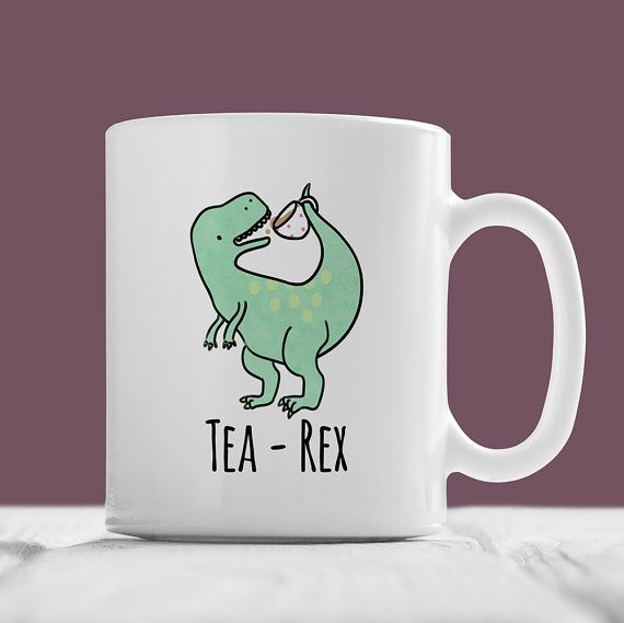 Photo of Tea-Rex Mug, Cute T-Rex Mug – Hand Illustrated Mug, Funny Mug, Dinosaur Mug, Pun Mug, Tea Mug, Jurassic Park, Geek, Nerd, Dino, Gift, Trex