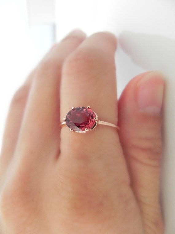 tourmaline ring Wedding ring tourmaline pink engagement ring unique gift Solid gold ring Anniversary ring Solitaire ring