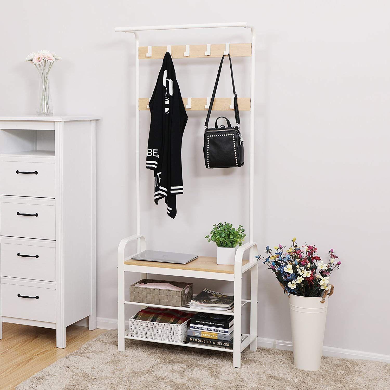 Szafka Na Buty Z Siedziskiem Stojak Na Ubrania Wieszak Do Przedpokoju Wieszak Na Kurtki Bialy Hallway Unit Furniture Hallway Furniture