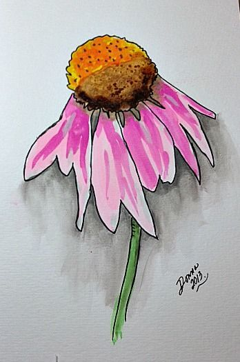 Daisy Watercolors No Tutorial Just Image Easy Watercolor Idea