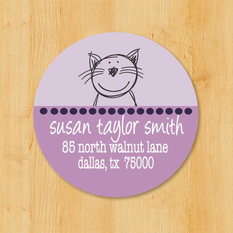 Return address sticker custom stickers personalized stickers round address label cat sticker