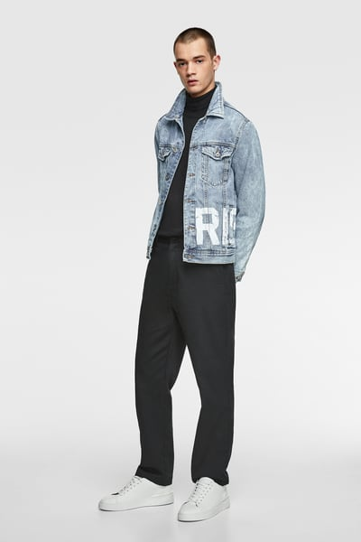 d7921bb9 ZARA - Male - Denim jacket with text - Light blue - S in 2019 ...