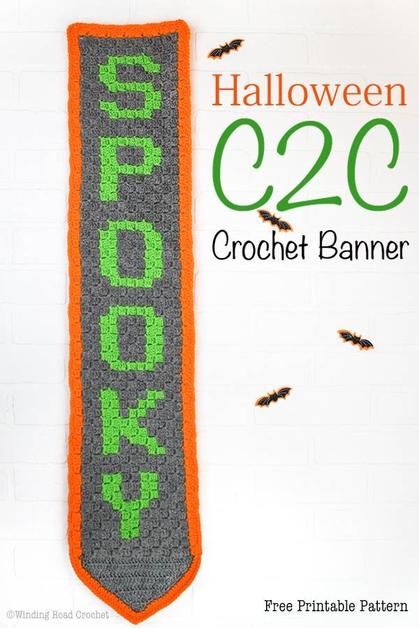 Halloween Corner to Corner Crochet Banner Free Crochet Pattern | Red ...