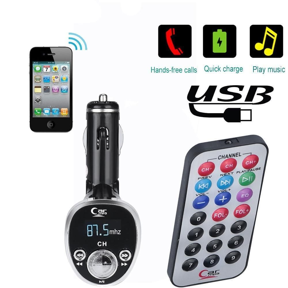 Silver Bluetooth Car FM Transmitter Wireless Radio Adapter USB Charger Mp3 Player Car Electronics & Accessories