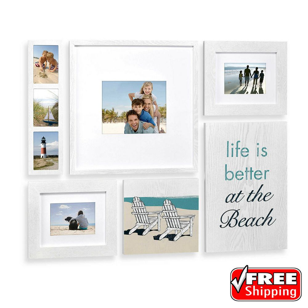 This Quot Life Is Better At The Beach Quot Coastal Box Frame Set Allows You To Enjoy Your Favori Photo Frame Wall White Distressed Frame