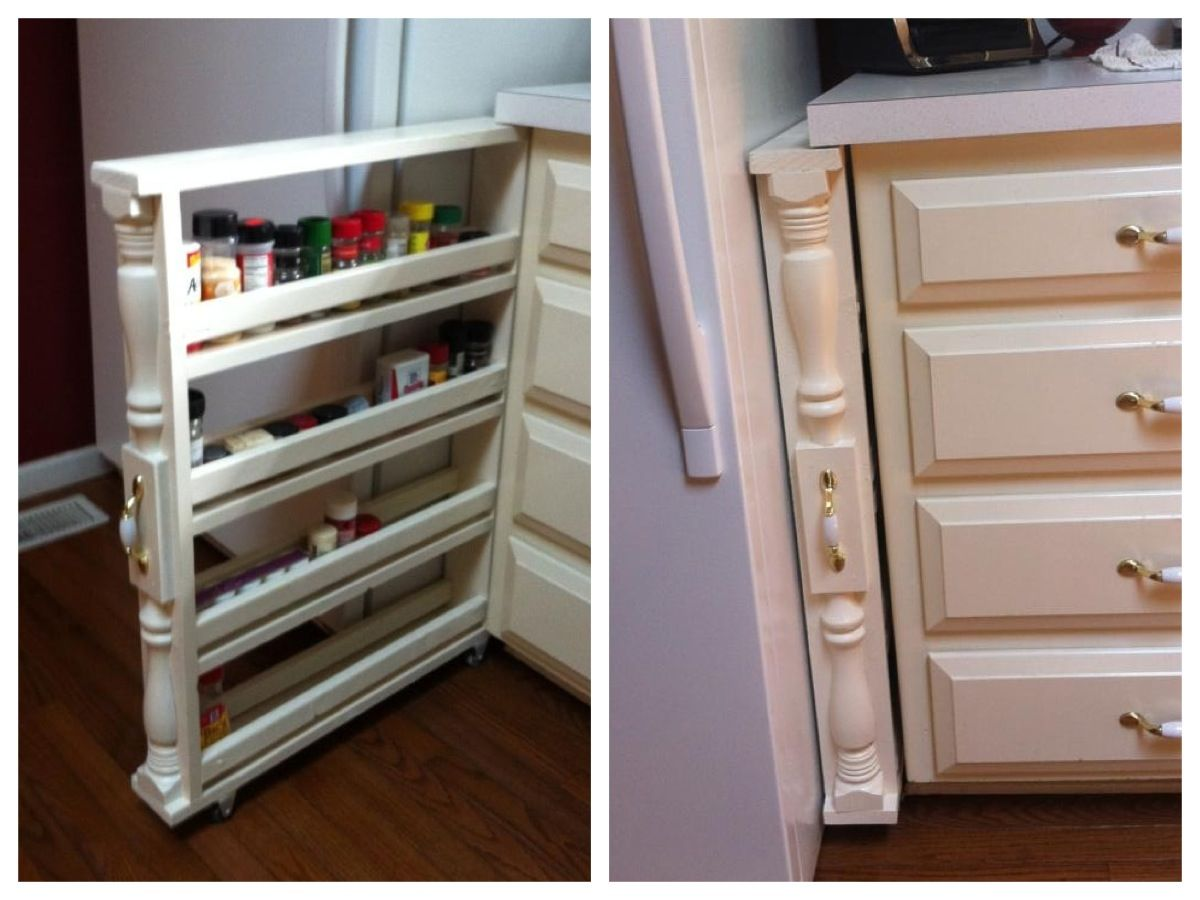 Diy Kitchen Pantry Cabinet Plans New Cabinets Rolling Spice Rack Organizer Love This Home