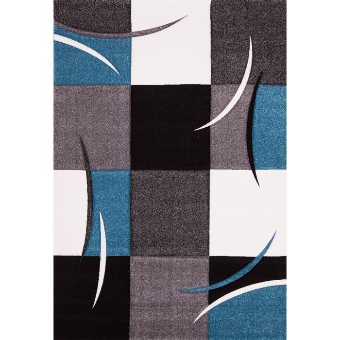 tapis bleu | Tapis salon bleu California 80 x 150 - Coloris : Bleu - Dimension : 80 ...