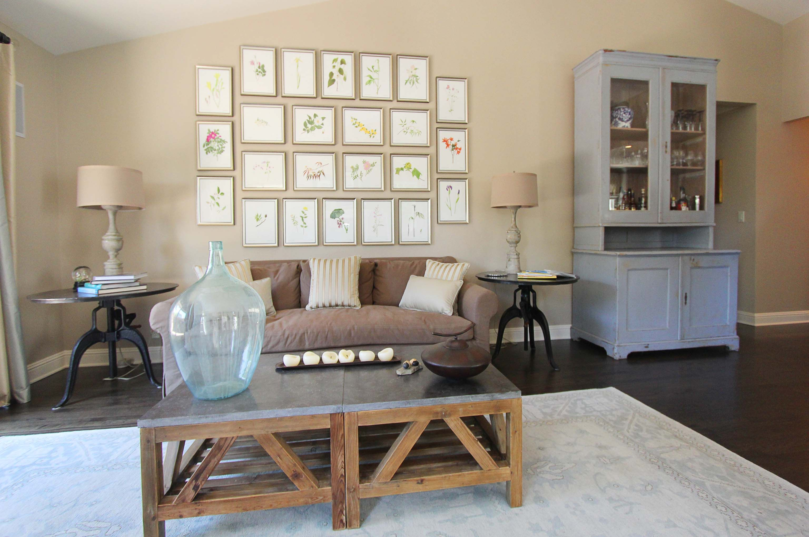 An Old Antique Hutch And Oversized Furniture Make This Small Condo Living Room Larger Than Life