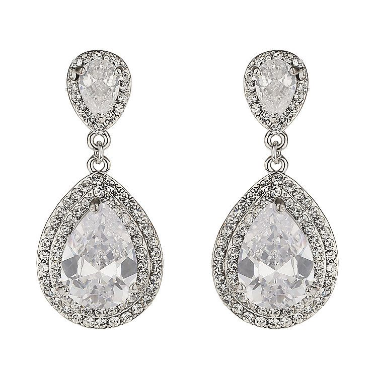 cubic wedding pear products drop earrings cassandra zirconia cz lynne