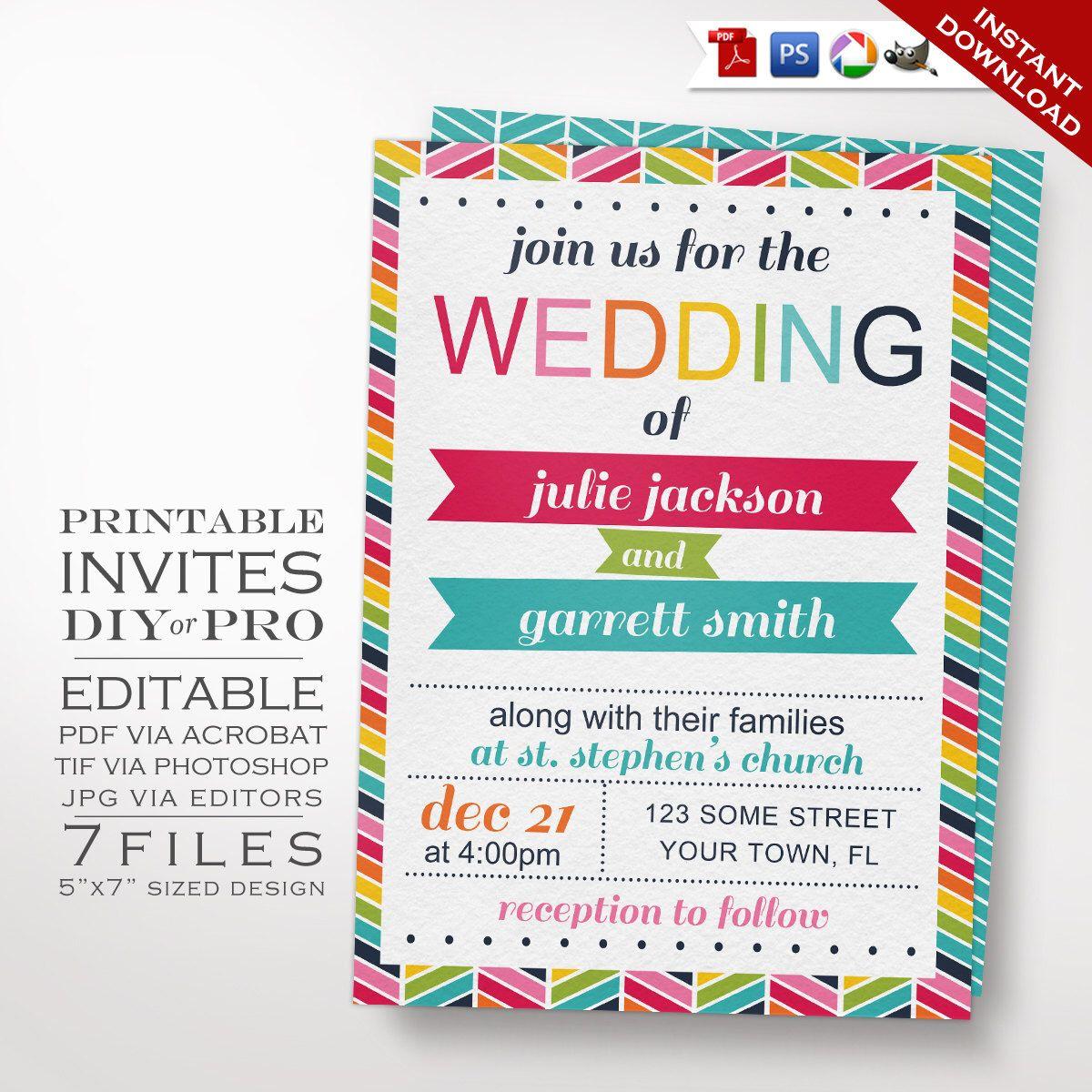 Wedding Invitation Template - Rainbow Wedding Invitation - Printable ...