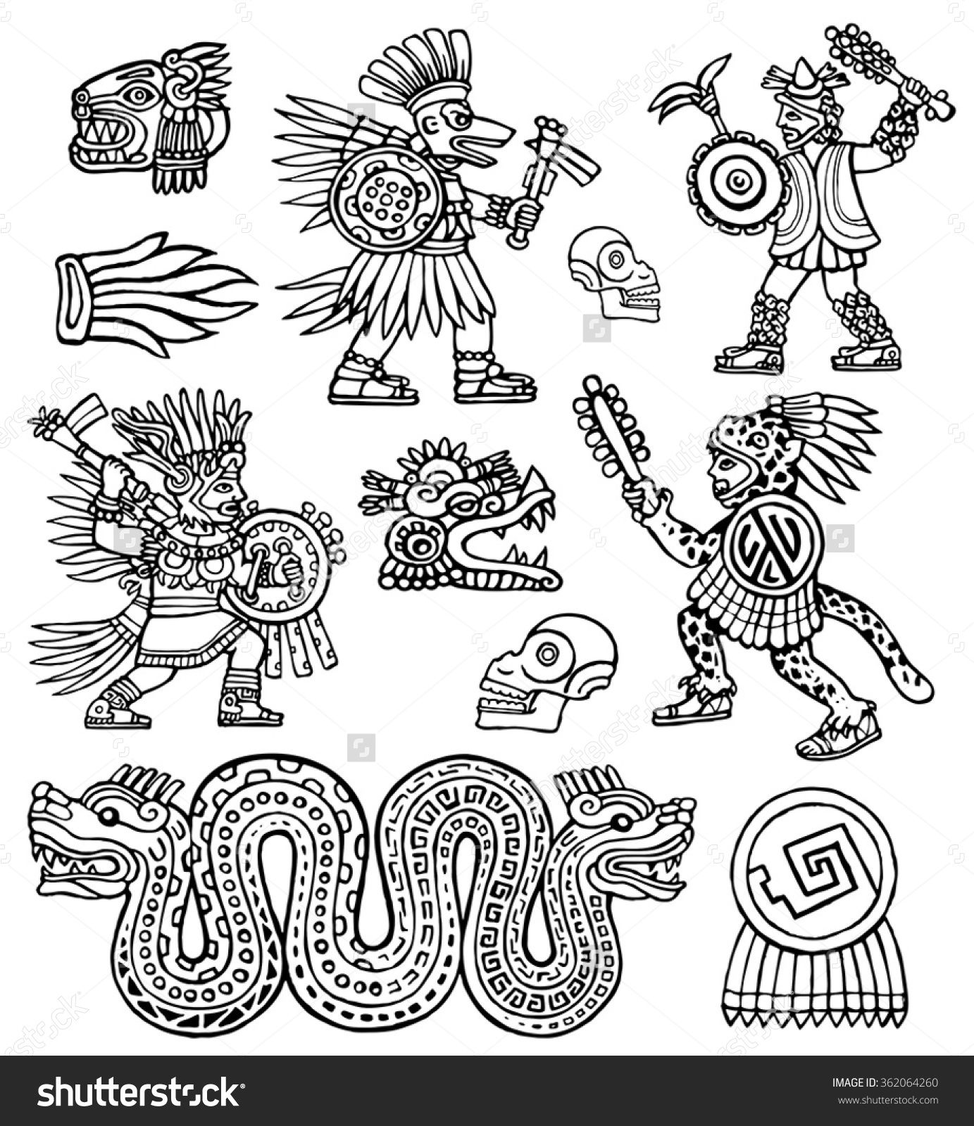 Aztec Warriors Skull Jaguar And Snake Vector Ink