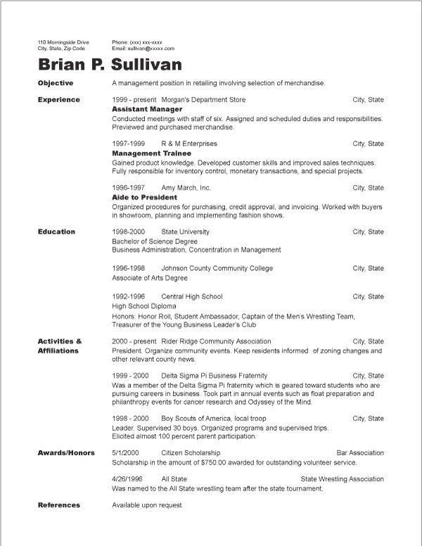 chronological resume for college student