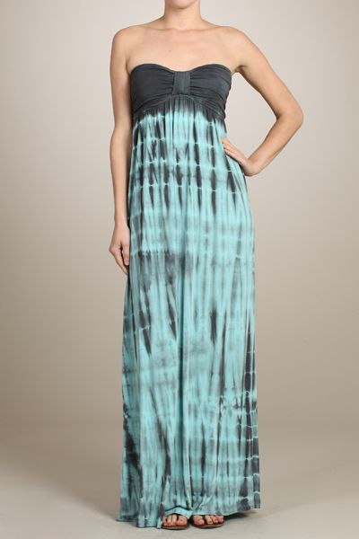 Charmings Shabby and Chic Boutique - Color Me Blue: Tie Dye Tube Maxi Dress, $54.00 (http://www.charmingsshabbyandchic.com/color-me-blue-tie-dye-tube-maxi-dress/)