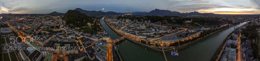 Amazing aerial view Salzburg - Sunset by ArnaudNajarro
