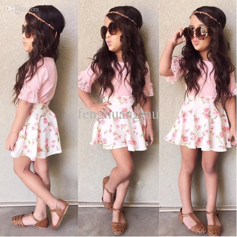 UK Toddler Kid Baby Girl Summer Lace Top Shirt+Short Pants Outfit Set Clothes