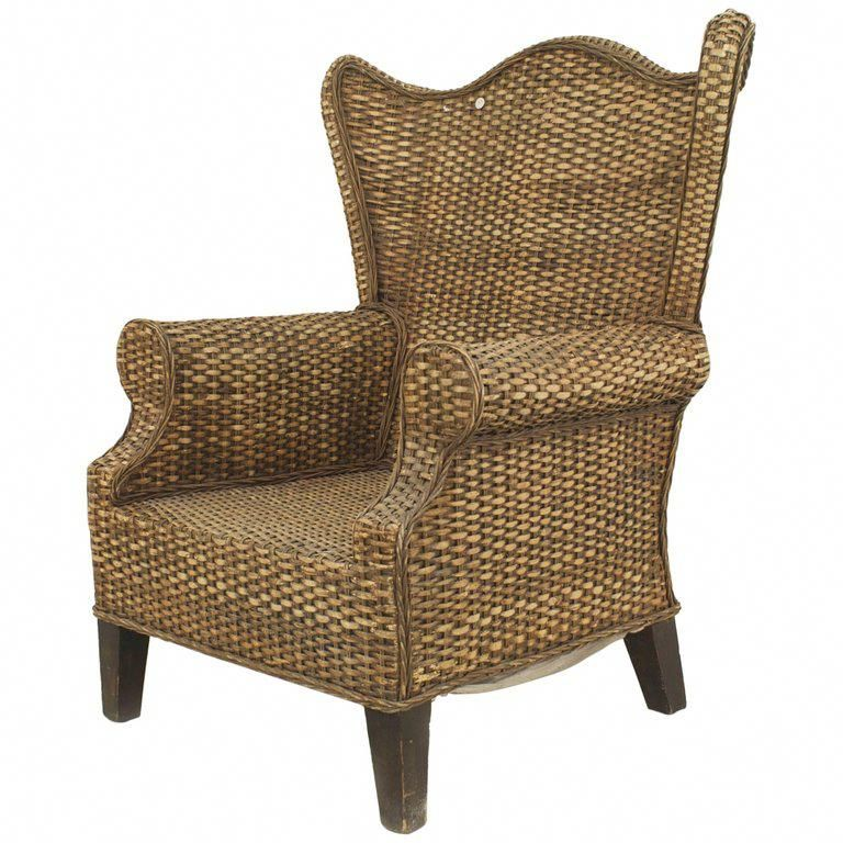 American wicker 20th century overscale natural rattan wing
