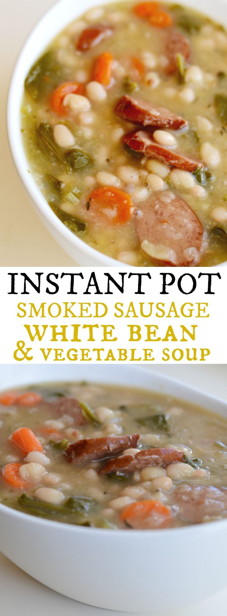 Instant Pot White Bean Soup with Sausage and Vegetables