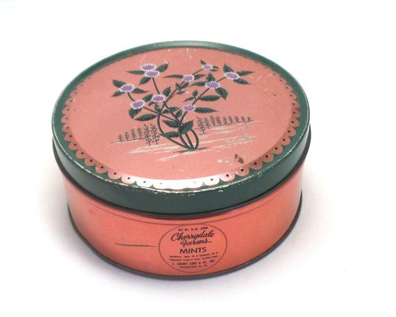Vintage Cherrydale Farms Mint Tin Pink With Flowers Tins That