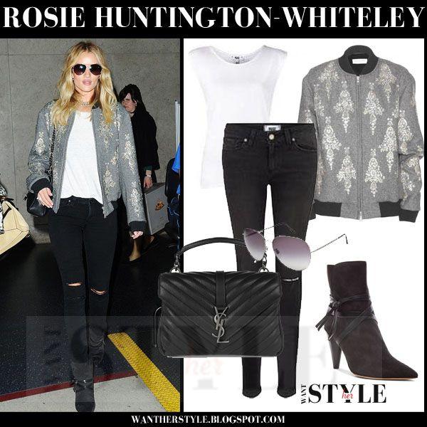 Rosie Huntington-Whiteley in grey embellished bomber jacket, black skinny jeans and black ankle boots