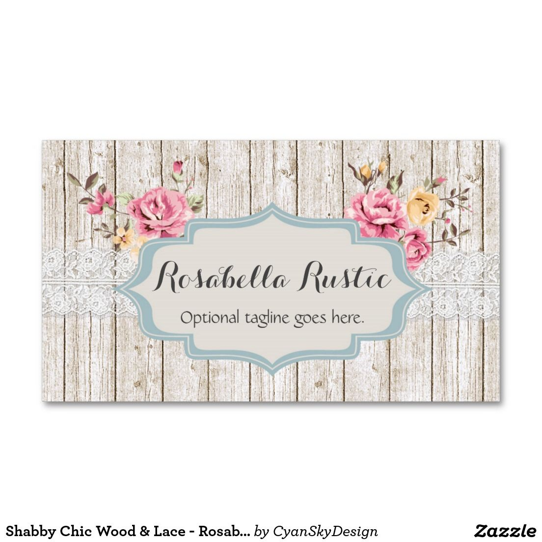Shabby Chic Floral Rustic Wood Vintage Lace Business Card