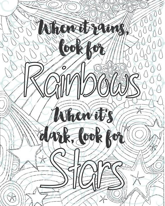 inspirational coloring pages for adults Adult Inspirational Coloring Page printable 02 Look for Rainbows  inspirational coloring pages for adults