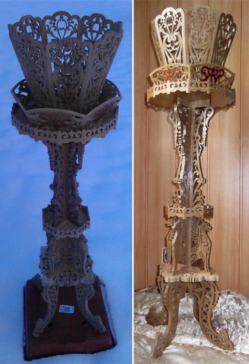 Pedestal Pot Stand Scroll Saw Fretwork Pattern Scroll Saw Vase