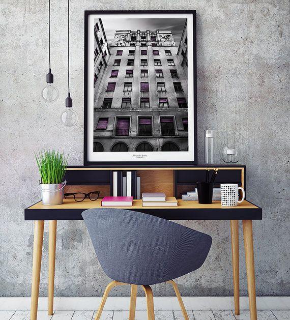 Architekturfotografie, Druck-Download, Schwarzweiß, Lila, Bürogebäude, Kunst, Fotokunst, Innenministerium-Hoteldekor