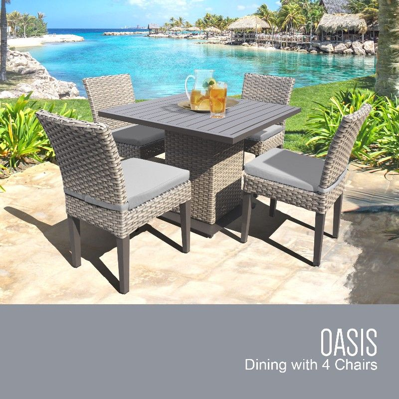 Oasis Square Dining Table W 4 Chairs In Grey Tk Classics Oasis