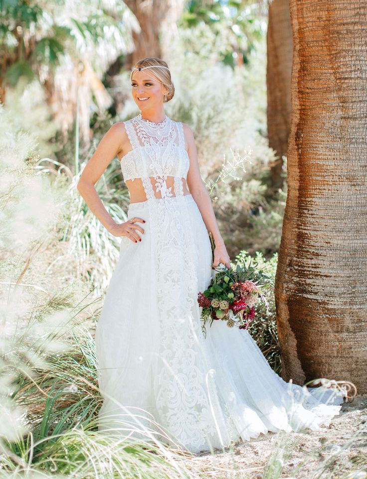 ffb851389ff Desert Chic Wedding with Bold Embroidered Bridesmaids Dresses ...
