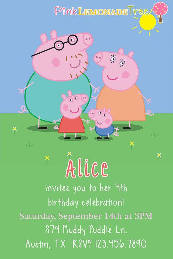 Peppa Pig Birthday Party Invitation by PinkLemonadeTree on Etsy ...