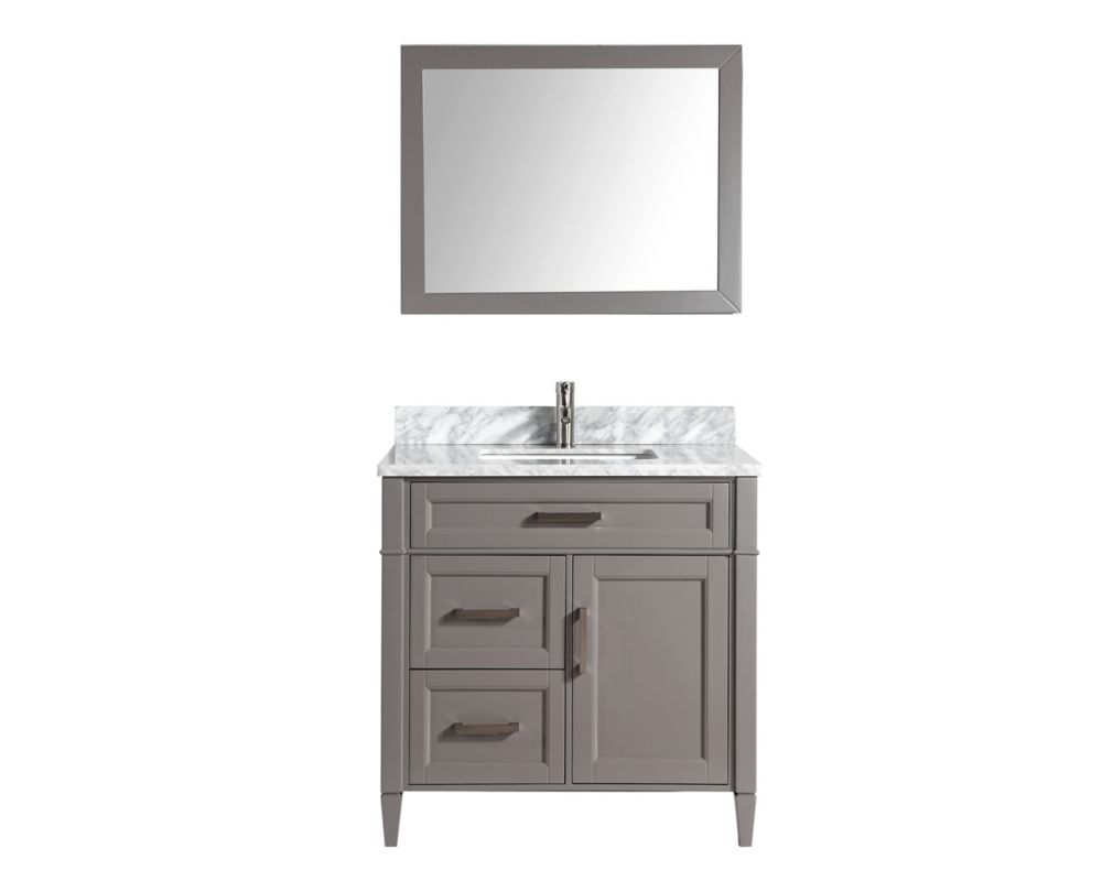 Savona 36 Inch Vanity In Grey With Single Basin Vanity Top In