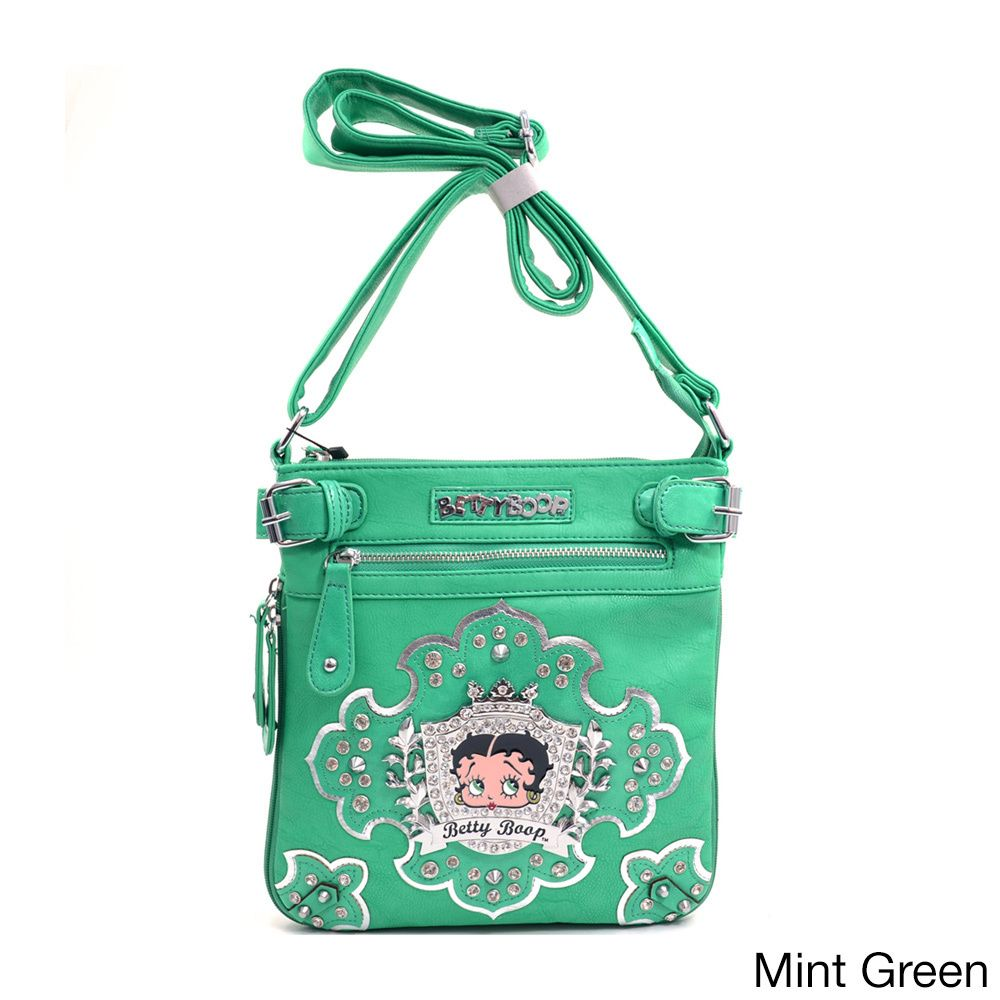 ee2c76444500 Betty Boop Rhinestone Crest Messenger Bag | Overstock.com Shopping - Top  Rated Betty Boop Crossbody & Mini Bags
