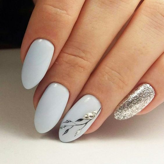 67 Short And Long Almond Shape Acrylic Nail Designs With Images Classic Nails Glamorous Nails Wedding Day Nails