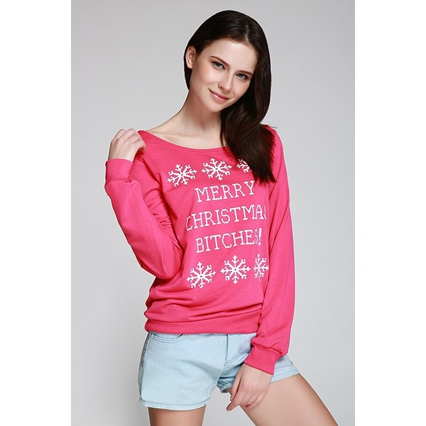 13.73$  Watch here - http://di7wx.justgood.pw/go.php?t=156823514 - Snowflake and Letter Print Christmas Sweatshirt