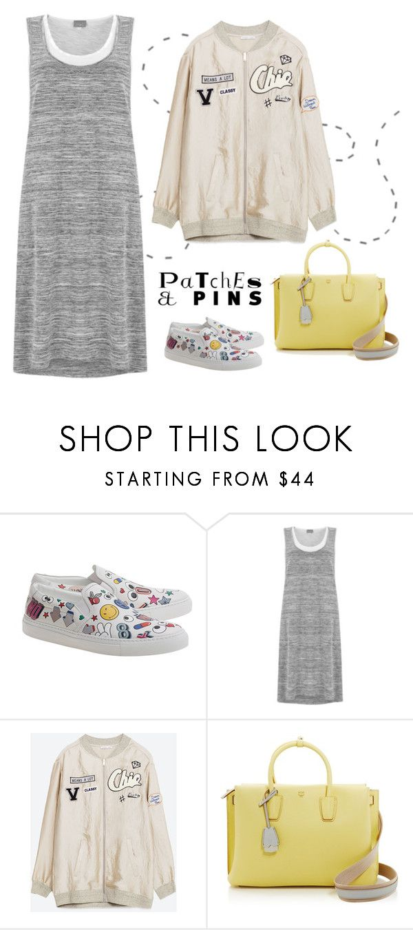 """""""Patch it! Pin it! Perfect!"""" by musicfriend1 ❤ liked on Polyvore featuring Anya Hindmarch, Mint Velvet, MCM and patchesandpins"""