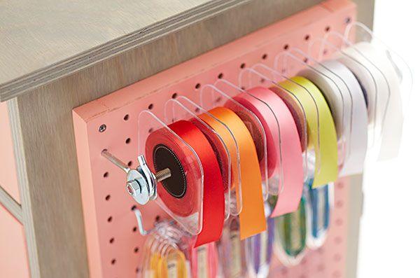 Peg Board Ribbon Organizer Craft Room Craft Room Organization Ribbon Storage