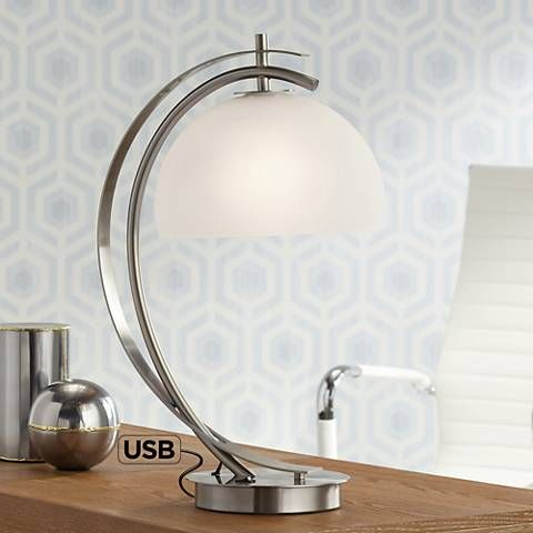 Possini Euro Calvin Glass Dome Table Lamp With Usb Port