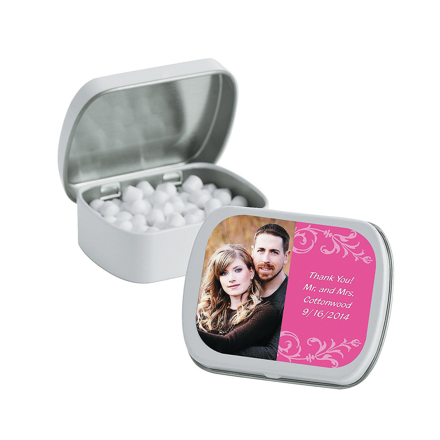 Hot Pink Custom Photo Mint Tins - Wedding favors from ...