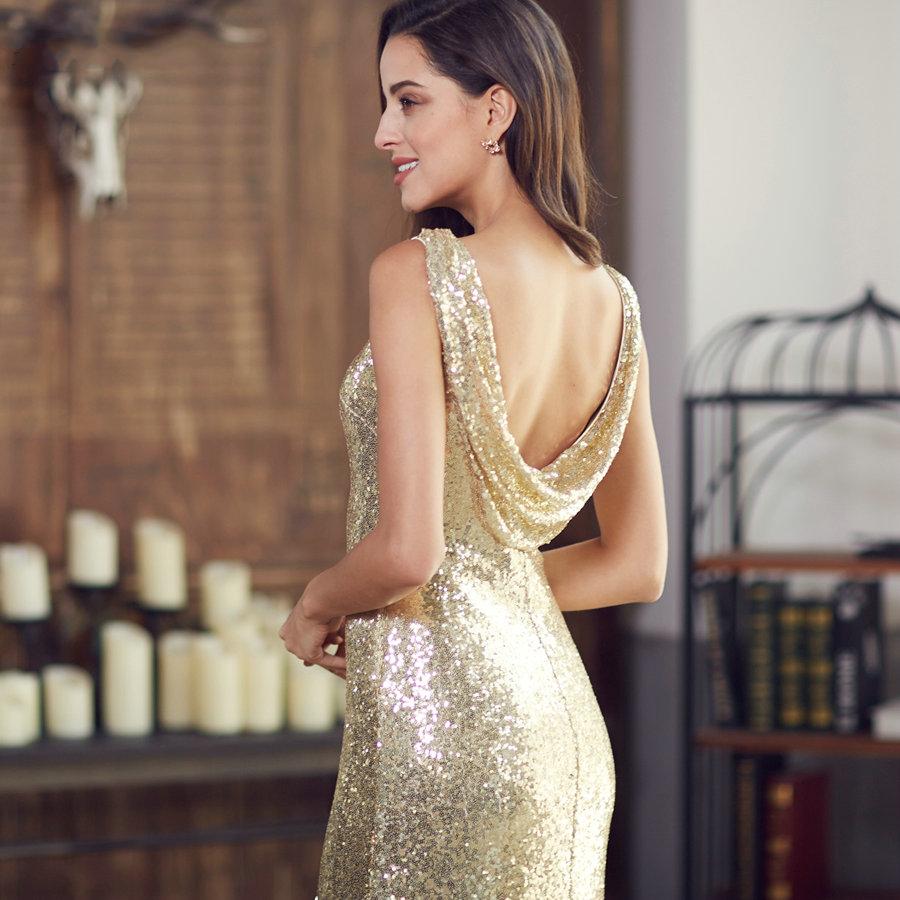 f795466c76 Gold Long Evening Dress Back Cowl Neck Shine Sequin Sparkle Elegant Women  Evening Party Gown on tiaremarket.com