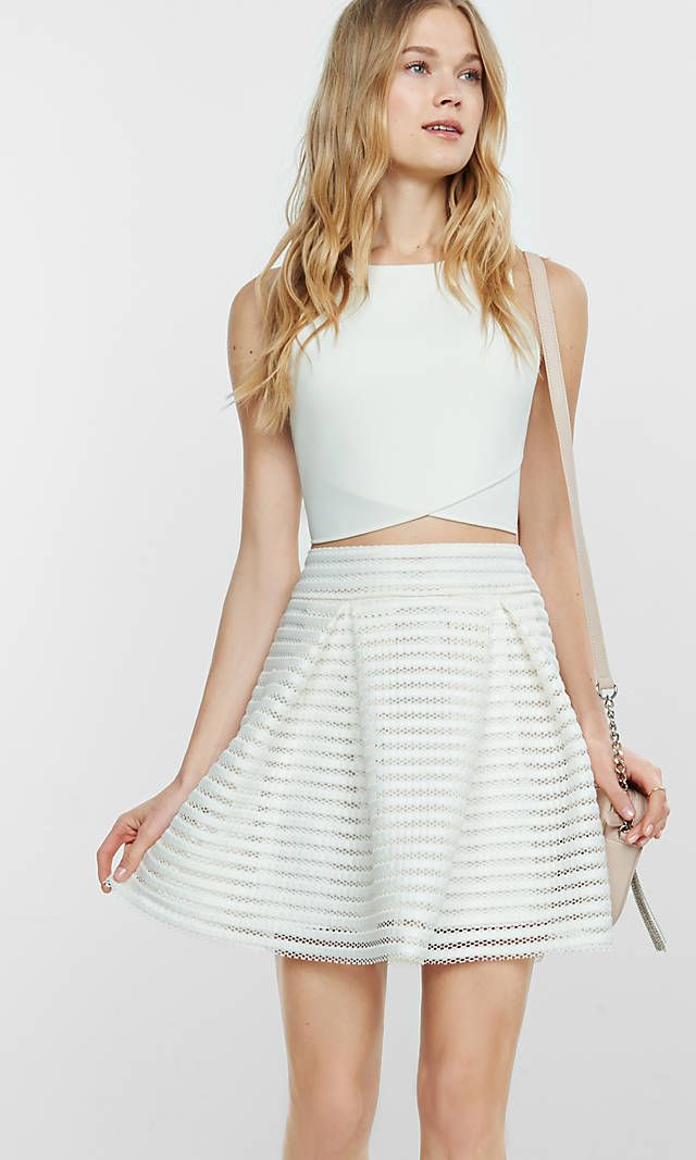 314be6912db9 Ivory Mesh High Waisted Full Pleated Skirt from EXPRESS Place to purchase  at link