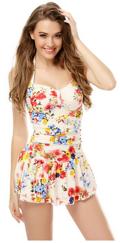 7770eef3e4 love the floral print on this modest suit One Piece Floral Ruched Halter  Slim Tummy Control Tankini Swim Dress - A Thrifty Mom