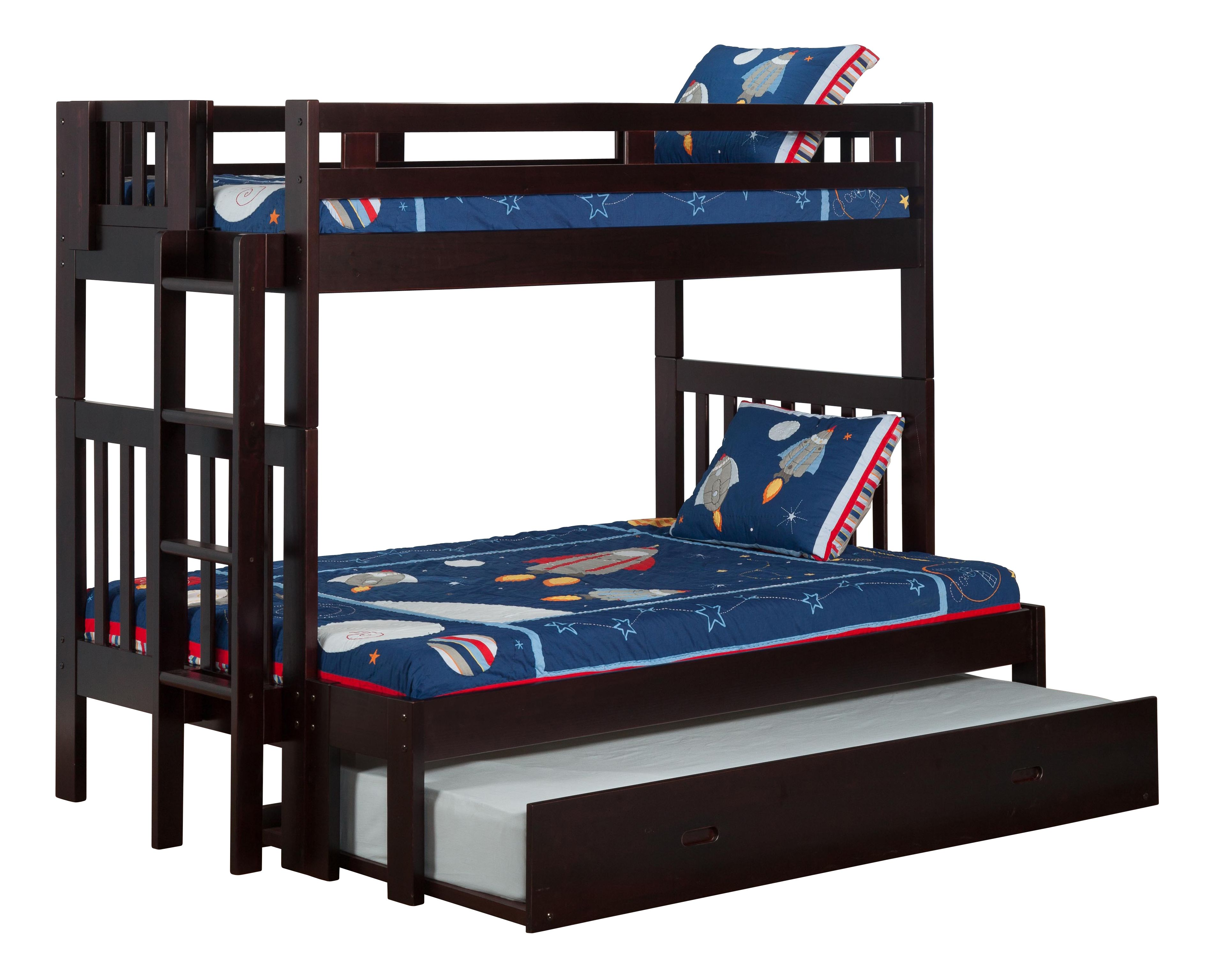 Twin over full loft bed with stairs  Twin over Full Cascade Hardwood Bunk Bed in Dark Espresso with FREE
