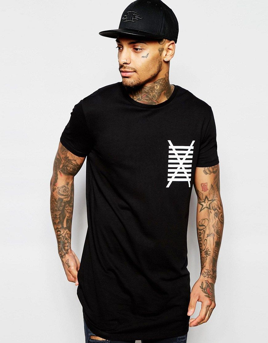 Black t shirt asos - Asos Super Longline T Shirt With Print In Relaxed Skater Fit Black Sales
