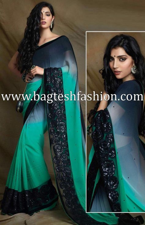 6cb88b81a2 Shaded Black And Turquoise Georgette Saree http://www.bagteshfashion.com/